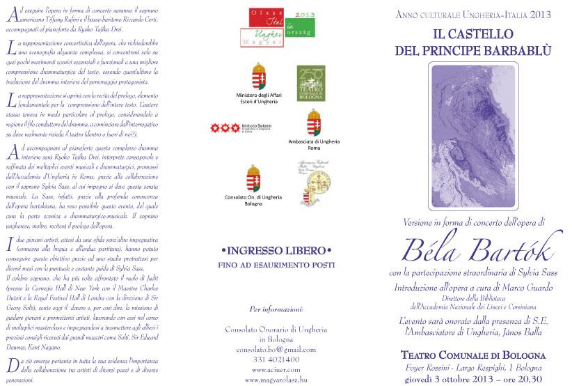 Il Castello del Principe Barbablù Versione in forma di concerto dell'opera di Béla Bartók