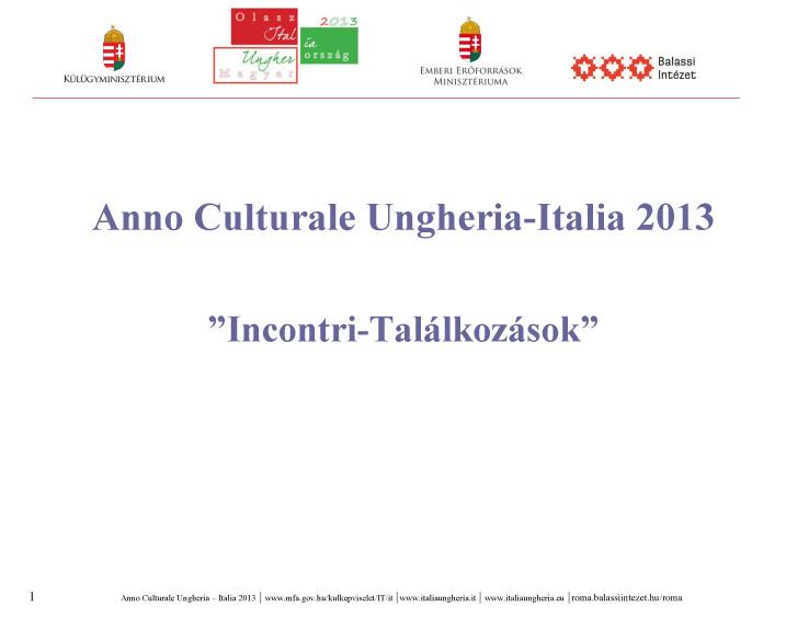 2013 Anno Italia – Ungheria