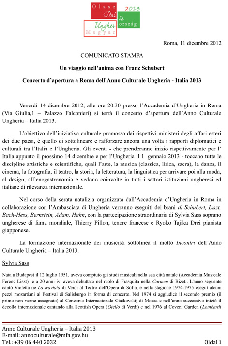 Comunicato stampa - ANNO DELLA CULTURA UNGHERESE ED ITALIANA 2013 -Concerto inaugurale di Sylvia Sass   11-1