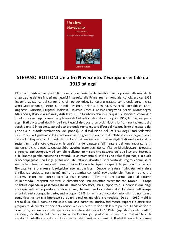 Stefano Bottoni: Un altro novecento. L'Europa orientale dal 1919 ad oggi