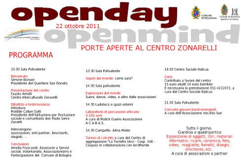 Open Day Open Mind - Centro Zonarelli - 22 ottobre 2011