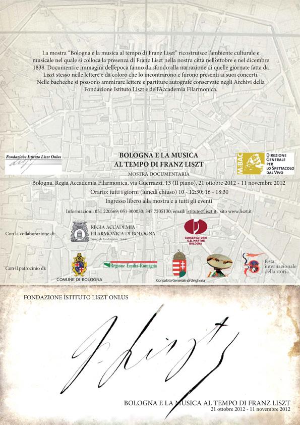 BOLOGNA E LA MUSICA AL TEMPO DI FERENC LISZT - 21 OTTOBRE 2012 - 11 NOVEMBRE 2012