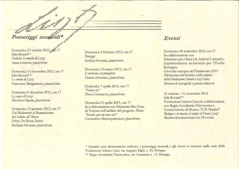 programma salotto musicale - Istituto Liszt - stagione 2012-2013