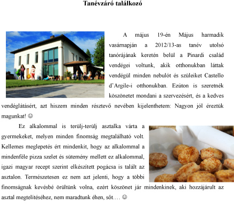 Festa di chiusura della scuola di madrelingua