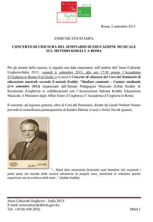 CONCERTO DEL CORO DEL SEMINARIO  KODÁLY A ROMA   02 09 2013