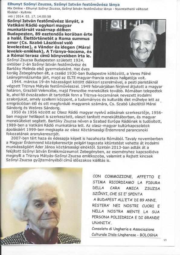 È scomparsa Zsuzsa Szőnyi all'età di 89 anni